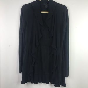 White House Black Market Black Silk Blend Cardigan